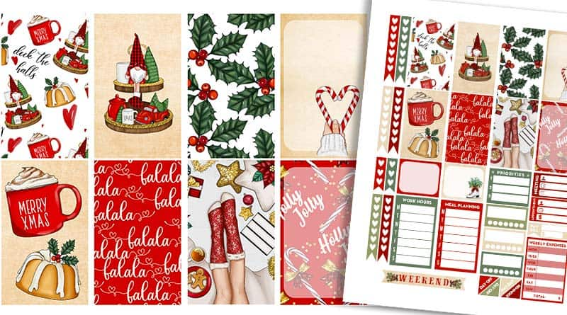 Free Printable Cute Christmas Planner Stickers - Weekly Kit