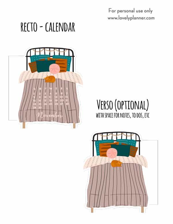 Cozy Bed Planner Divider Calendar