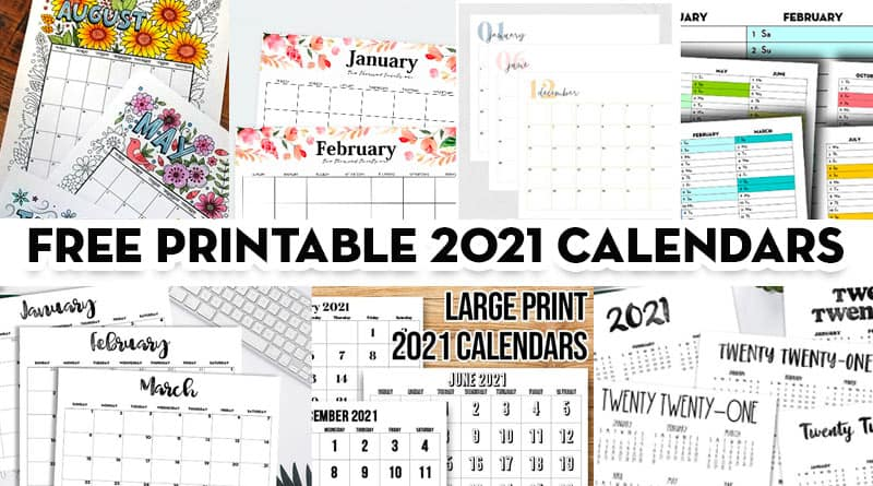 20 Free Printable 2021 Calendars Templates
