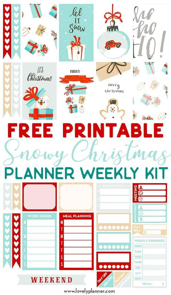 Free Printable Snowy Christmas Planner Stickers Weekly Kit
