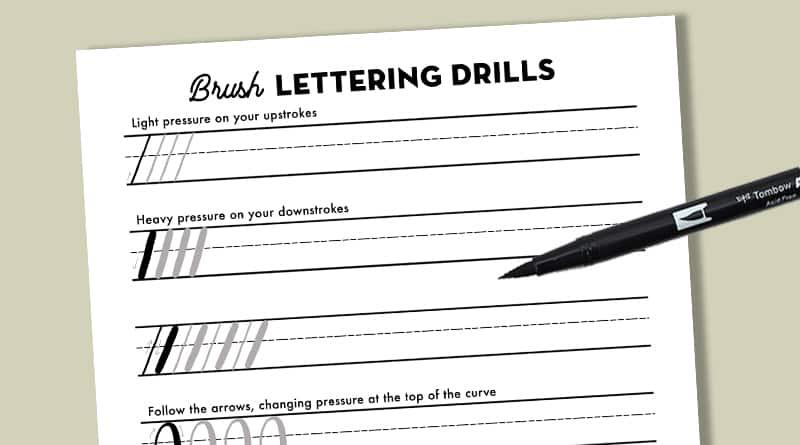 Brush Lettering Drills Practice Sheet