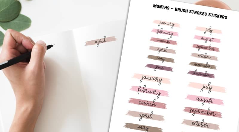 Free Printable Monthly Header Paint Swatch Stickers