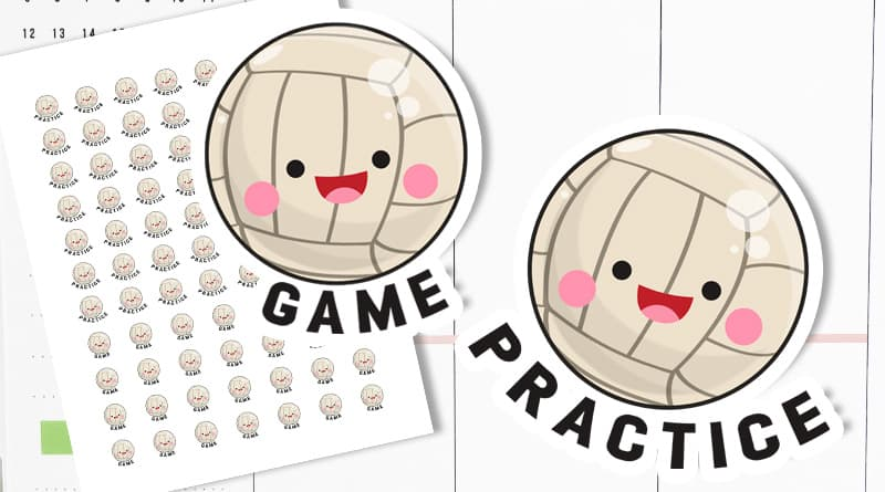 Free Printable Volleyball Planner stickers