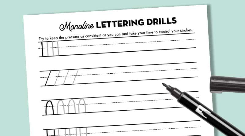 Monoline Lettering Drills Practice Sheet