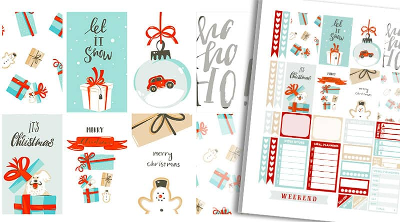 Free Printable Snowy Christmas Planner Stickers Weekly Kit
