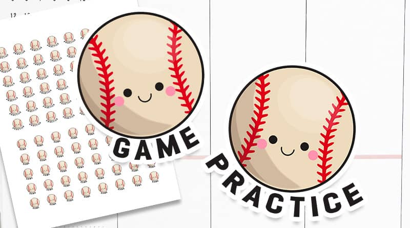 Free Printable Baseball Planner stickers