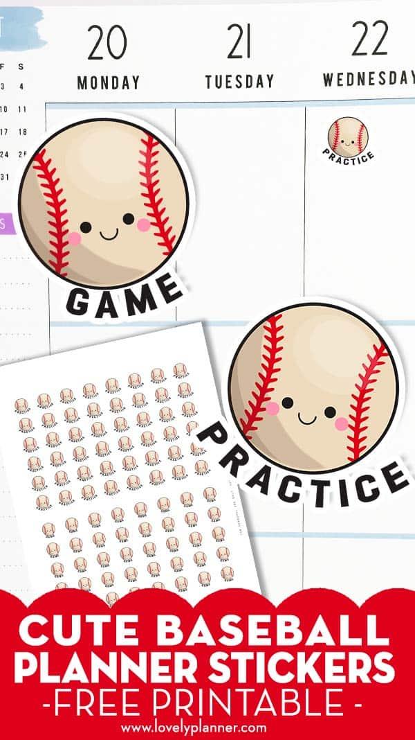 Free Printable Baseball Planner Stickers