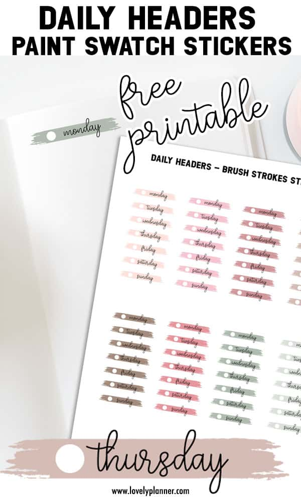 Free Printable Daily Header Paint Swatch Stickers