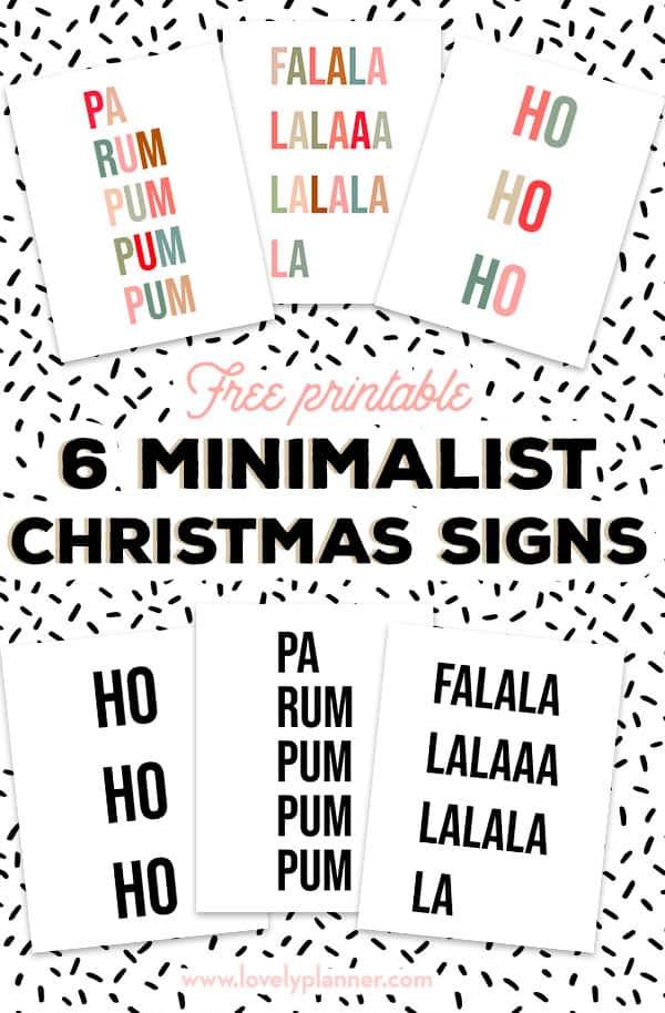 6 Free Printable Minimalist Christmas Signs