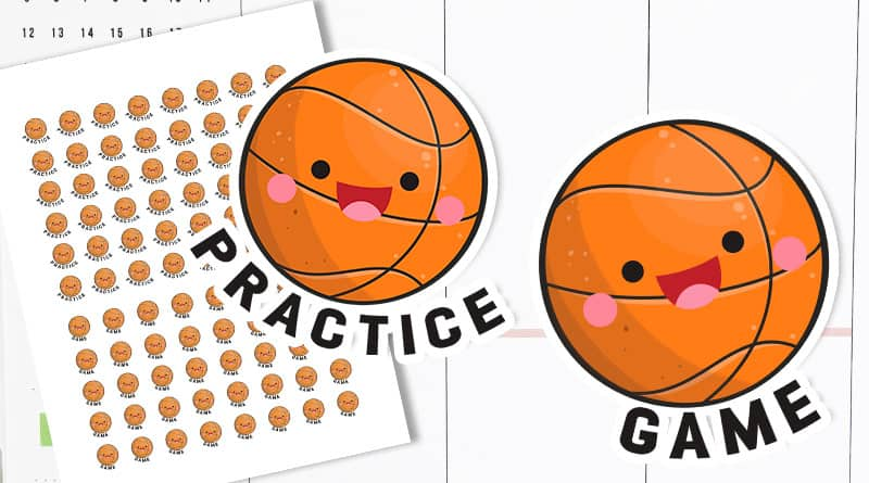 Free Printable Basketball planner stickers