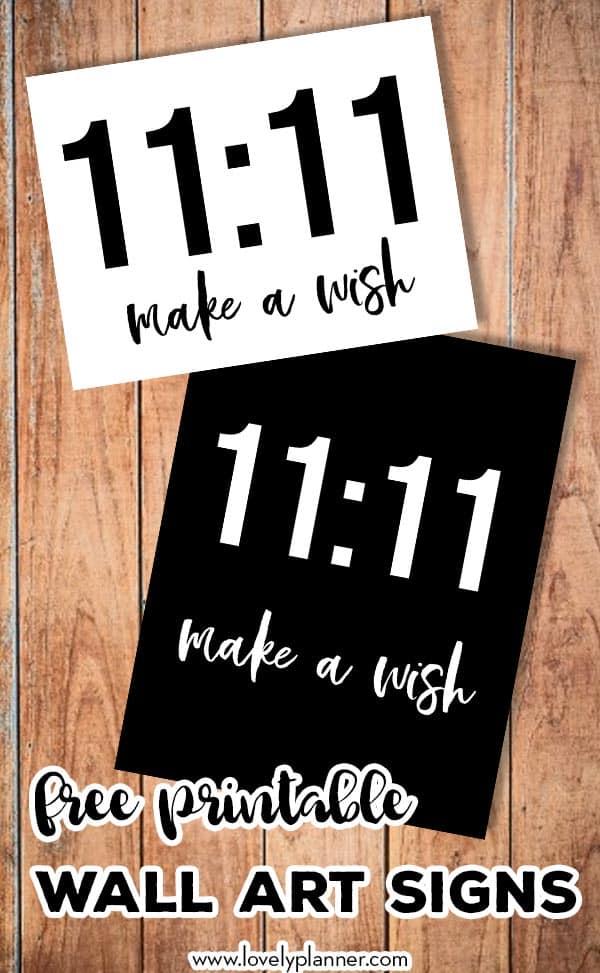 Free Printable 11:11 make a wish sign
