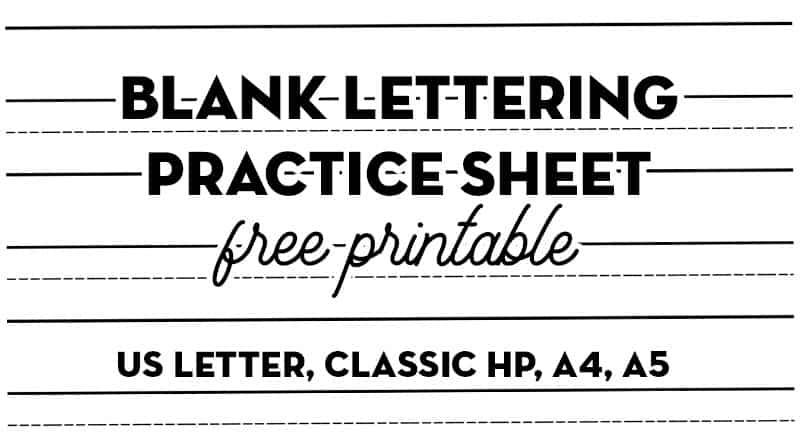 Free Printable Blank lettering practice sheet