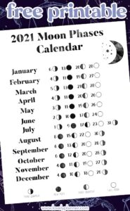 Free printable 2021 Moon Phases Calendar - Lovely Planner