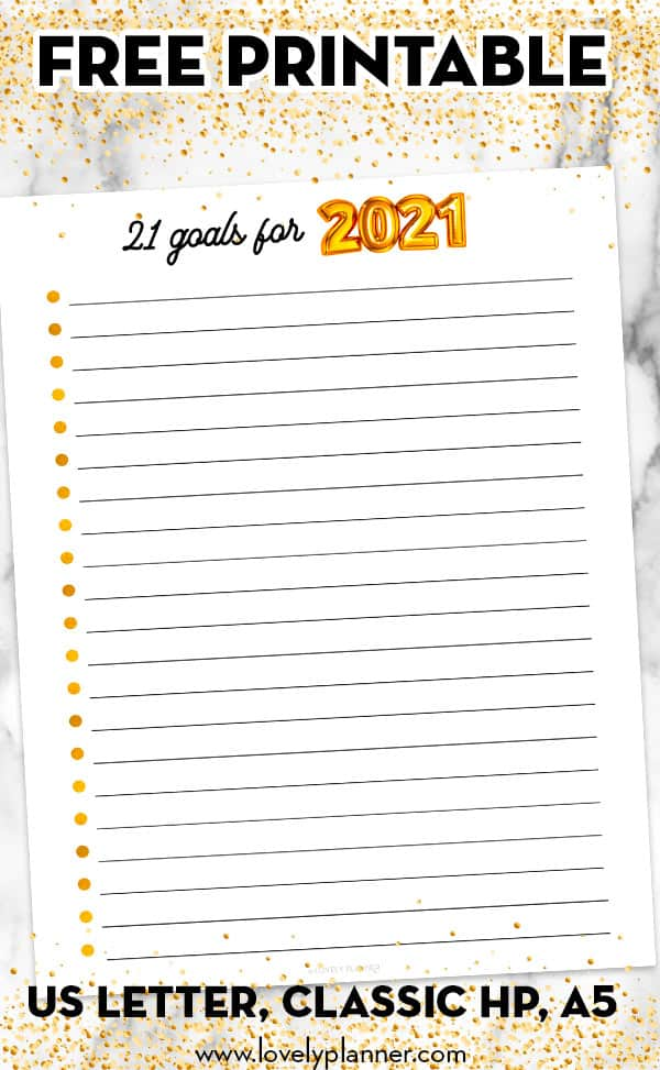 Free printable 21 goals for 2021