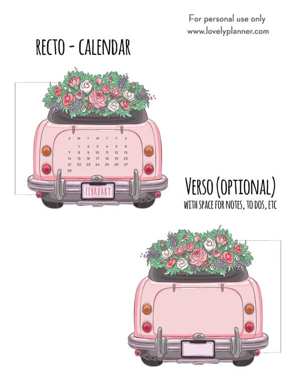 Free Printable Pink Car Planner Divider