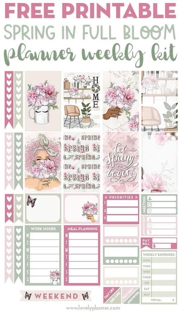 Free Printable Spring Planner Stickers Weekly Kit