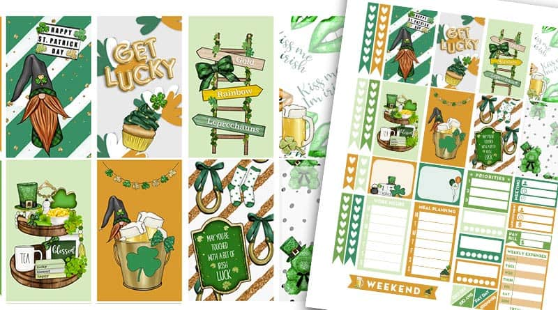 Free Saint Patrick's Day Planner Stickers Weekly Kit