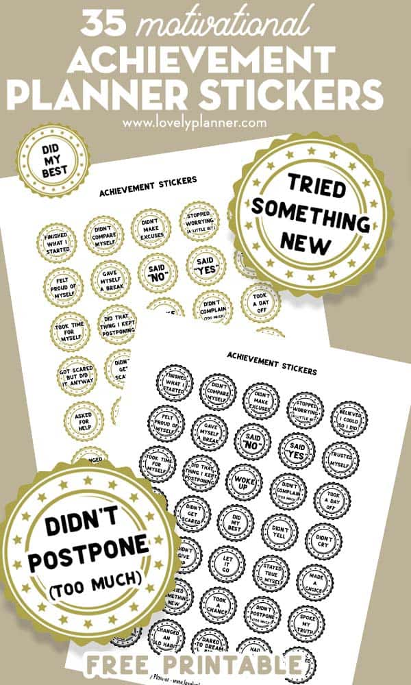 Free Printable Achievement Planner Stickers