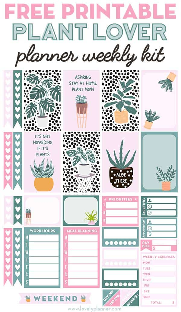 Free Printable Plant Lover Planner Stickers Weekly Kit