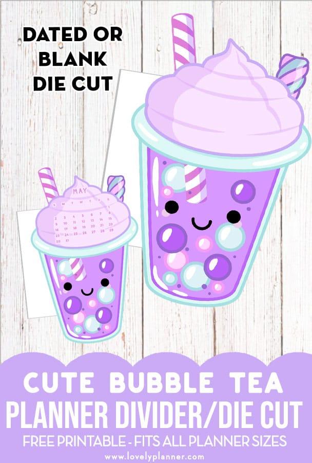 Free Printable Bubble Tea Planner Divider
