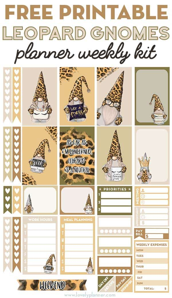 Free Printable Leopard Gnomes Planner Stickers Weekly Kit
