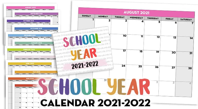 Free Printable 2021-2022 Monthly School Calendar Template