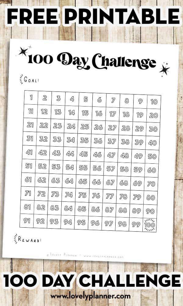 Free Printable 100 day Challenge Habit Tracker
