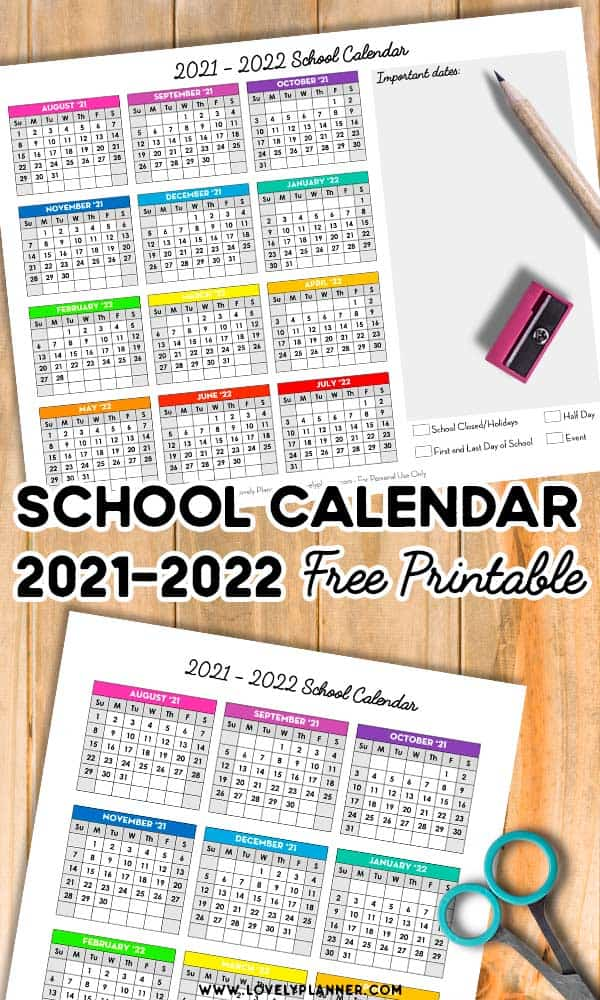 Free Printable School Calendar 2021-2022