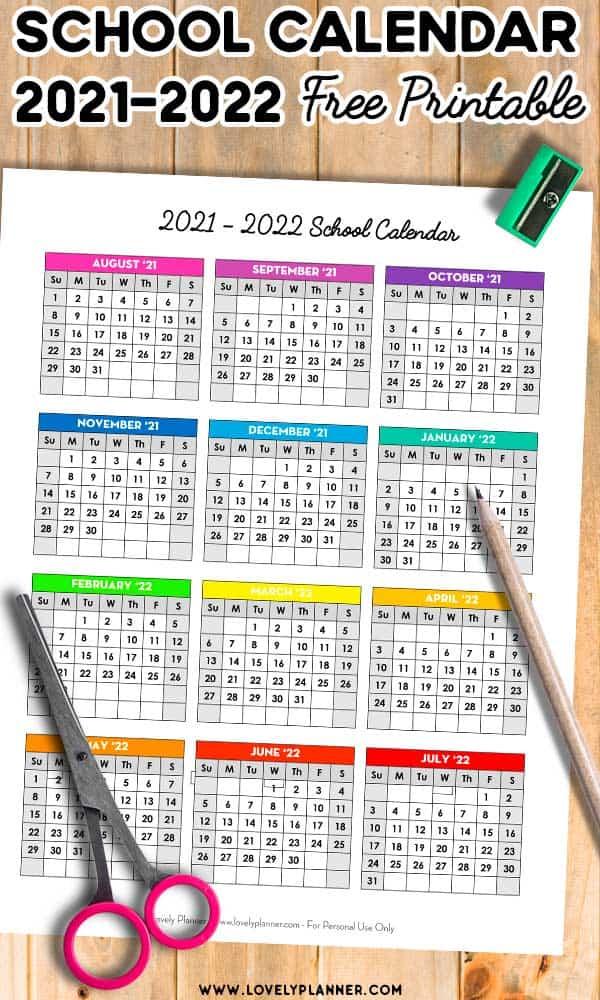 Free Printable One Page School Calendar 2021-2022