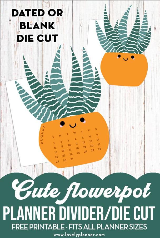 Free Printable Flowerpot Calendar Divider