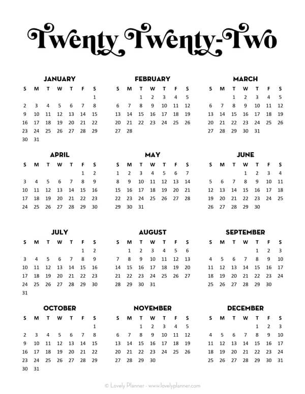 Free Calendar 2022 Printable One Page