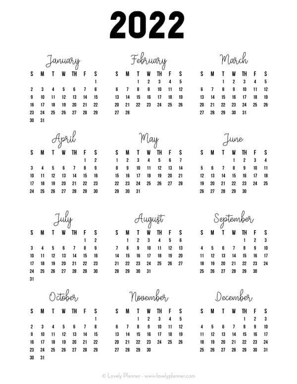 33 Free Printable 2022 One Page Calendars