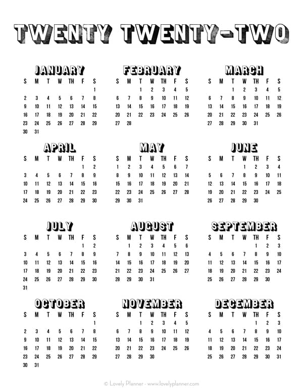 Printable 2022 One Page Calendar
