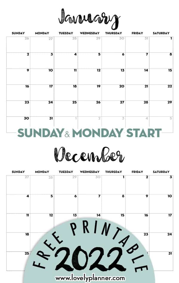 Printable 2022 Calendar Free Template
