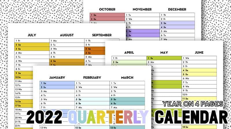 Free Printable 2022 Calendex Quarterly Calendar Bullet Journal Rainbow