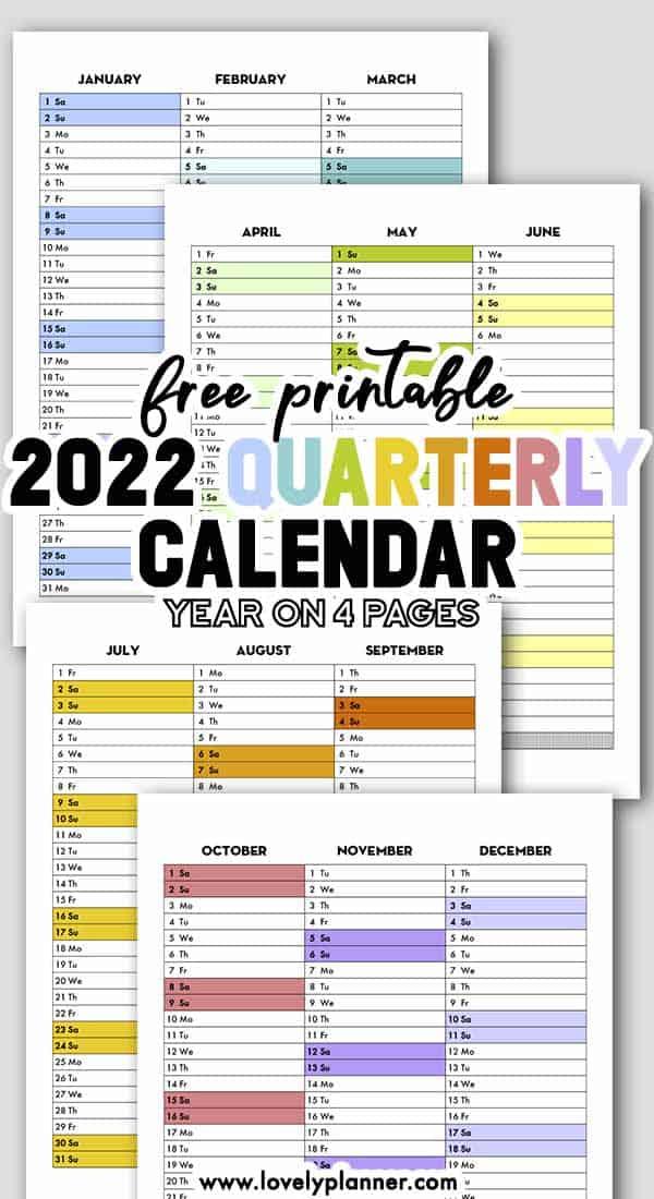 Free Printable 2022 Calendex Quarterly Calendar Bullet Journal