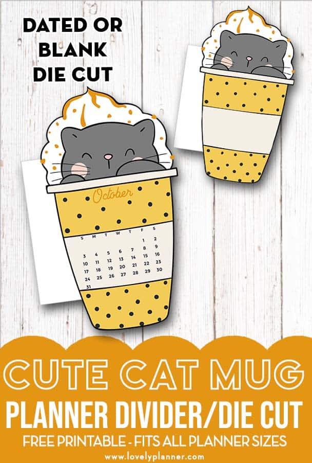 Cat Mug Calendar Divider Free Planner printable