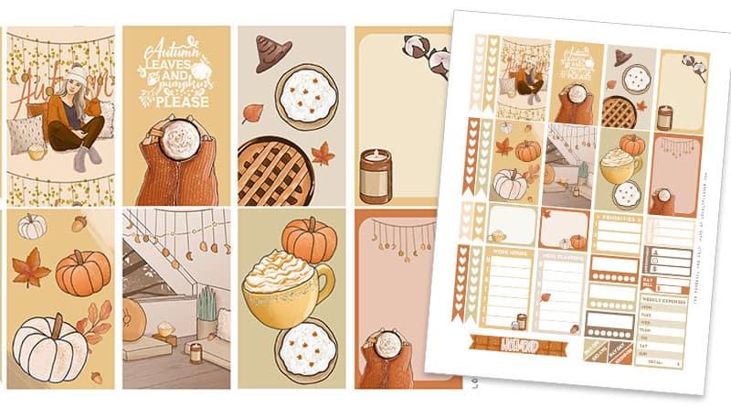Free Printable Pumpkin Spice Planner Stickers Weekly Kit