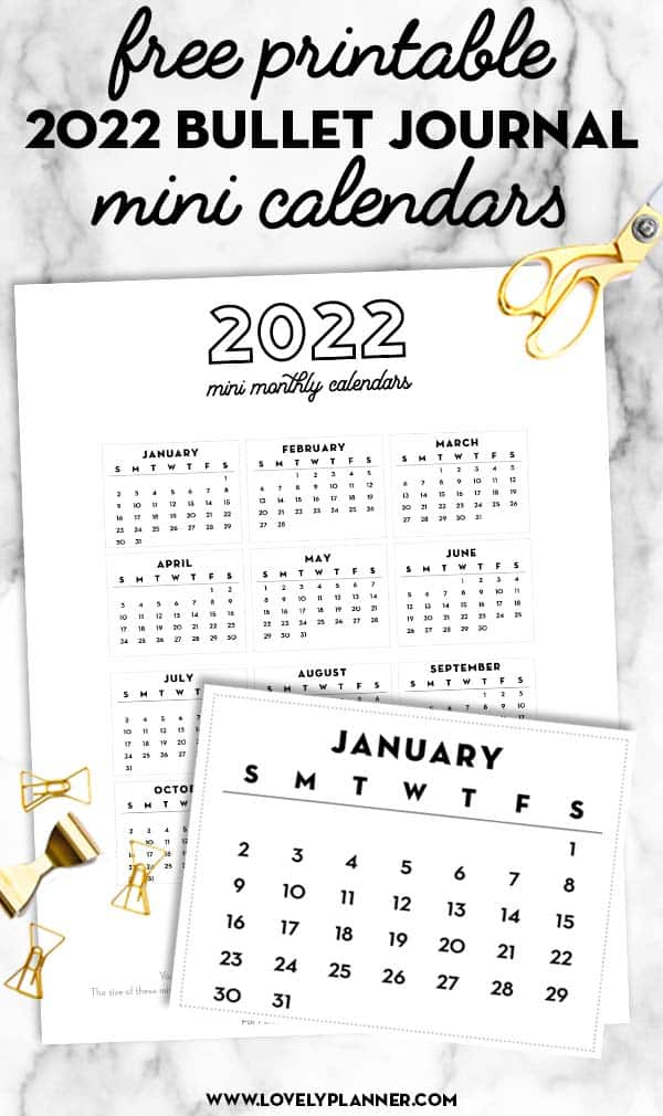 free printable 2022 bullet journal mini calendars