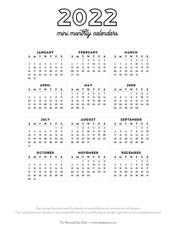 free printable 2022 bullet journal mini calendar